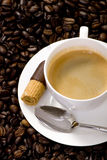 Coffee. A hot cup of coffee brewed with fresh roasted beans Stock Images