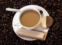 Coffee. A hot cup of coffee brewed with fresh roasted beans Stock Photos