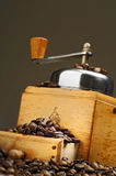 Coffee. Grinder and beans stock images