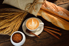 Coffee. A cup of cafe latte and bread stock photos