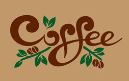 Coffee. Line art stylish coffee lettering vector illustration Royalty Free Stock Photography