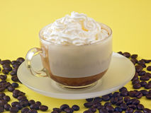 Coffee. The coffee on yellow board royalty free stock images