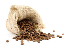 Coffee. Cofee beans and bag studio isolated Royalty Free Stock Image