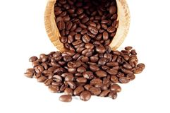 Coffee. Roasted coffee bean isolated on white stock photo