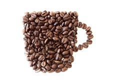 Coffee. Mug made of -beans, on white Royalty Free Stock Photo