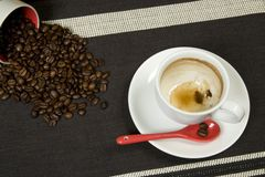 Coffee. Empty Coffee Cup with Beans Stock Photo