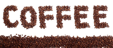 Coffee. Word made of  beans with a strip of beans, isolated on white Royalty Free Stock Photos
