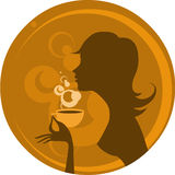 Coffee. Silhouette of a woman with cup of coffee Royalty Free Stock Photography