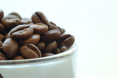 Coffee. Beans in a cup royalty free stock image