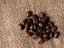 Coffee. Coffe beans on sac Royalty Free Stock Photo