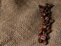 Coffee. Beans on sac Royalty Free Stock Image