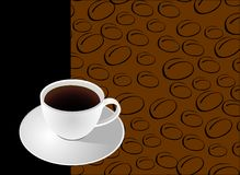 Coffee. Cup with coffe beans background template Stock Photos