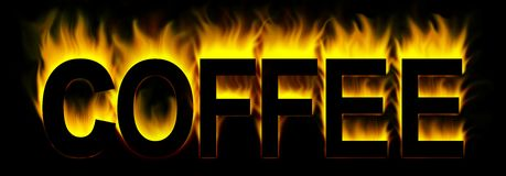 Coffee. Word in fire background Royalty Free Stock Images