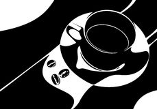 Coffee. Illustratin of cup of coffee with three coffee beans royalty free illustration