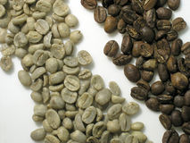 Coffee. Unroasted coffee bean and roasted coffee bean Stock Photo