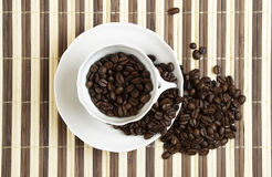 Coffee 7348. Cup of coffee with coffee beans stock image