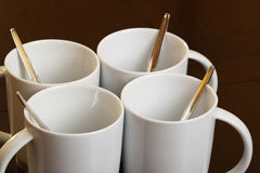 Coffee 7378. 4 cups of coffee on table royalty free stock images