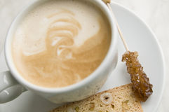 Coffee. With rock candy (Focus is on the Rock Sugar Stock Photography