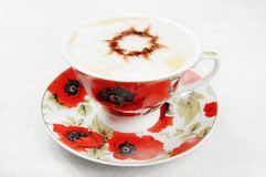 Coffee. A flower cup of coffee Royalty Free Stock Images