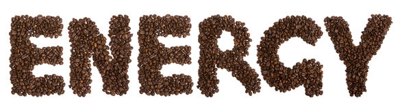 Coffee. Word ENERGY made of coffee beans royalty free stock photos