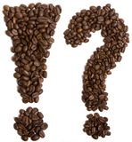 Coffee. Exclamation and question mark made of coffee beans stock image