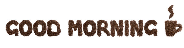 Coffee. Phrase good morning made of coffee beans stock images