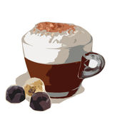 Coffee. Vector illustration of cup of coffee with chocolate Stock Image