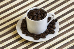 Coffee 7659. Cup of coffee with coffee beans royalty free stock image