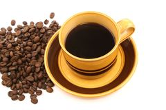 Coffee. Cup and  beans Stock Images