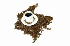 Coffee. Colombia Coffee Map royalty free stock photos