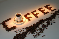 Coffee. Word coffee writed with beans Royalty Free Stock Photography