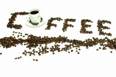 Coffee. Word coffee writed with beans Stock Image