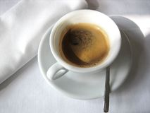 Coffee. A cup of coffee with white cover Royalty Free Stock Photography