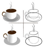 Coffee. Various size two coffee cup with outlines Royalty Free Stock Images