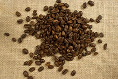 Coffee. Roasted coffee beans on burlap Royalty Free Stock Photos