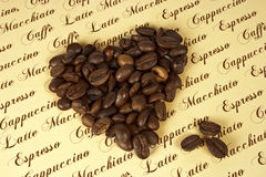 Coffee. Collage with heart and text Royalty Free Stock Image