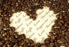 Coffee. Collage with heart and text Stock Photography