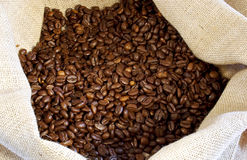 Coffee. Beans in a burlap bag Royalty Free Stock Images