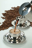Coffee. Cup of coffee and coffee beans stock photo