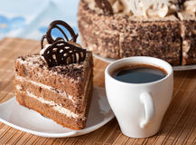 Coffee ,a Slice Of Cake On A Plate Stock Photography