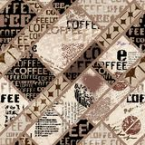 Coffee. Abstract coffee beans on brown background. Coffee. Abstract coffee pattern on brown background with a lettring. Seamless pattern Royalty Free Stock Photography