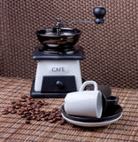 Coffee accessories. Coffee . vintage still-life with coffee mill stock images
