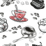 Coffee accessories drawings. Art seamless background vector illustration