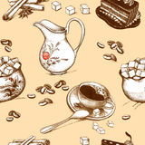 Coffee accessories drawings Stock Photography