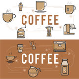 Coffee  accessories icons set. Illustration design Royalty Free Stock Images