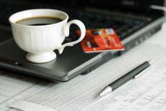 Coffee and financial accounting Royalty Free Stock Photos
