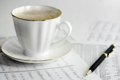 Coffee and accounting Stock Photo