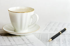 Coffee and accounting. Stock Photo