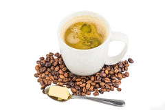 Coffee with added Butter. New drinking trend of Coffee with added Butter stock photos
