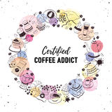 Coffee addict print. Certified coffee addict concept for t-shirt print. Coffee love greeting card design. Hand drawn line art illustration with teapots, cups and Stock Photos